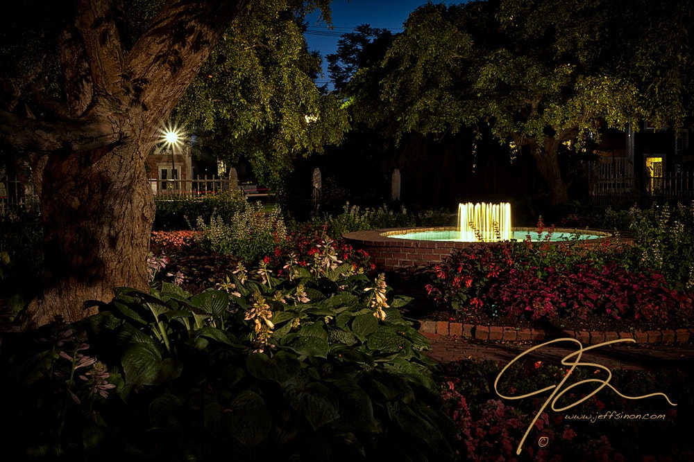Photograph Fountain At Night, Prescott Park, Portsmouth, NH by Jeff Sinon on 500px