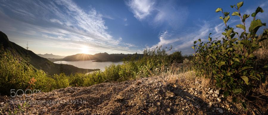 Sunset behind Spirit Lake