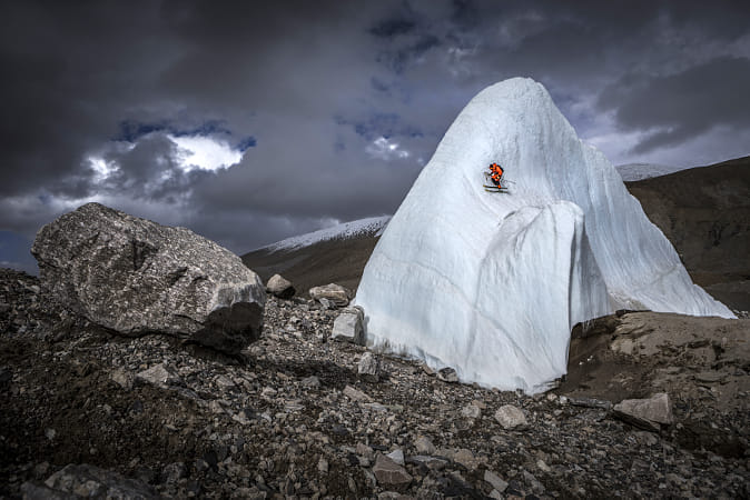 Andrej Bargiel climbs icefall near Shishapangma, Tibet, China. by Red Bull Photography on 500px
