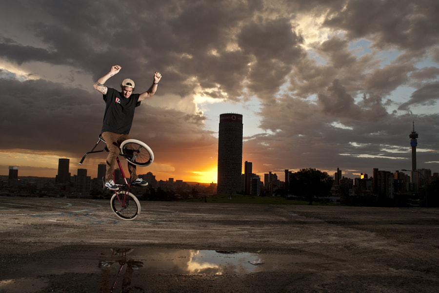 Matthias Dandois doing a trick on a bike in Johannesburg, South Africa. by Red Bull Photography on 500px.com