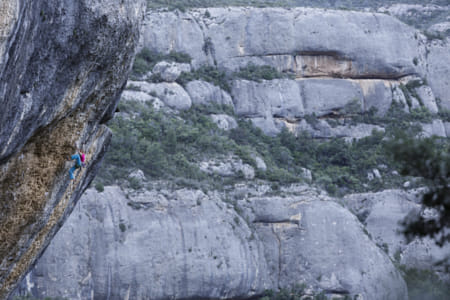 Angela Eiter rock climbing in Margalef, Spain.  by Red Bull Photography on 500px