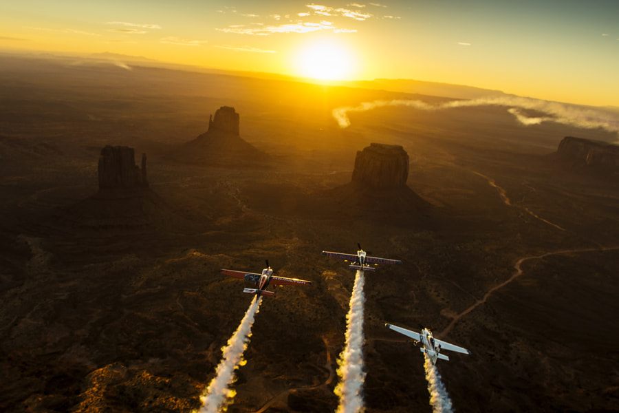 Kirby Chambliss Leading Nicolas Ivanoff and Matthias Dolderer Over Monument Valley Navajo Tribal... by Red Bull Photography on 500px.com