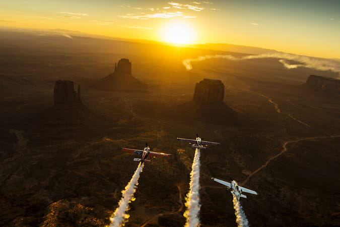 Kirby Chambliss Leading Nicolas Ivanoff and Matthias Dolderer Over Monument Valley Navajo Tribal... by Red Bull Photography on 500px
