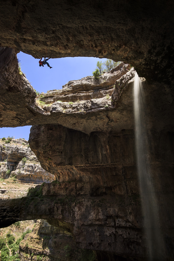 David Lama climbing at Baatara Gorge, Lebannon. by Red Bull Photography on 500px.com