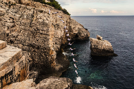 Orlando Duque Jumps Off Cliff in vis, Croatia. by Klassy Goldberg on 500px