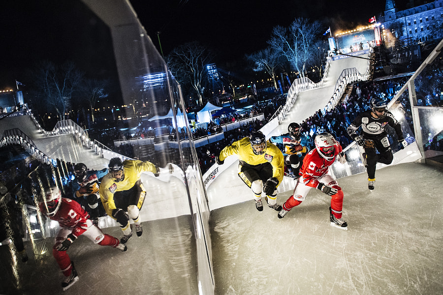 Marco Dallago, Jere Lehto, Mikka Jouhkimainen, and Dylan Moriarty compete in Ice Cross Downhill... by Red Bull Photography on 500px.com