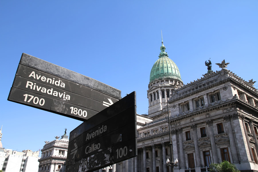 National Congress of Argentina with Street sign by Michael Osterrieder on 500px.com