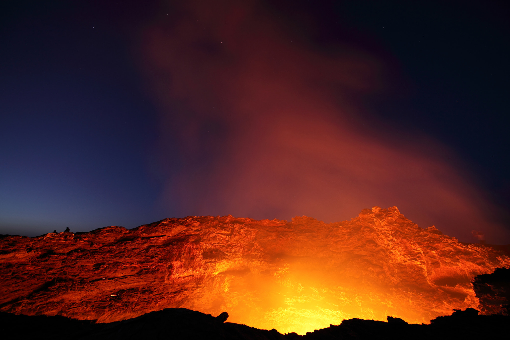 Photograph Glowing Lava Lake of Erta Ale Volcano just after Sunset by Richard Roscoe on 500px