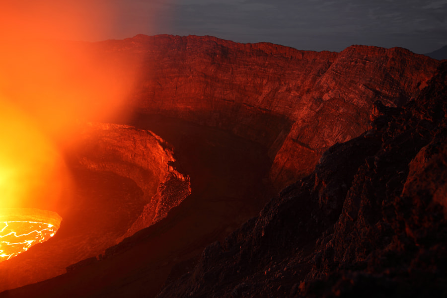 Photograph Massive Pit Crater of Nyiragongo Volcano with Lava Lake, Democratic Republic of Congo by Richard Roscoe on 500px
