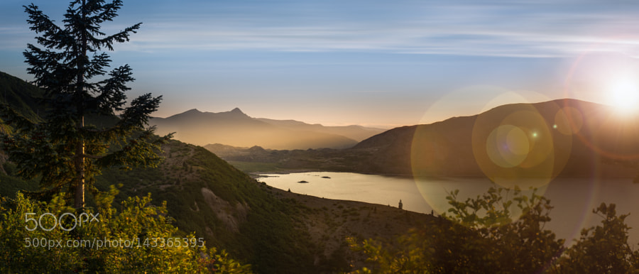 Spirit Lake with setting sun