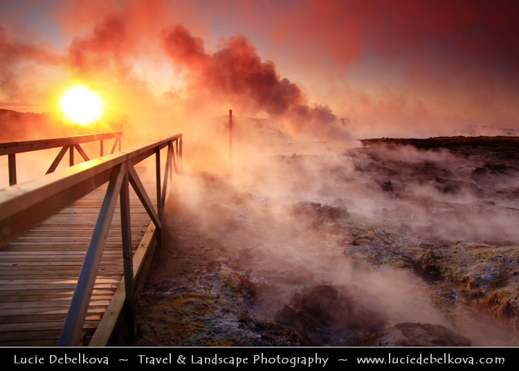 Photograph Iceland - Reykjanes - Gunnuhver - Iceland´s Larges Mud Pool at Dramatic Sunset by Lucie Debelkova -  Travel Photography - www.luciedebelkova.com on 500px