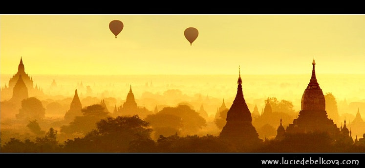 Photograph Myanmar - Balloons Flying over Mystical Bagan during Wonderful Sunrise by Lucie Debelkova -  Travel Photography - www.luciedebelkova.com on 500px