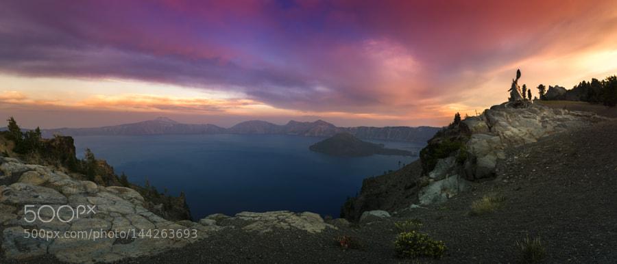 Crater Lake under burning sky