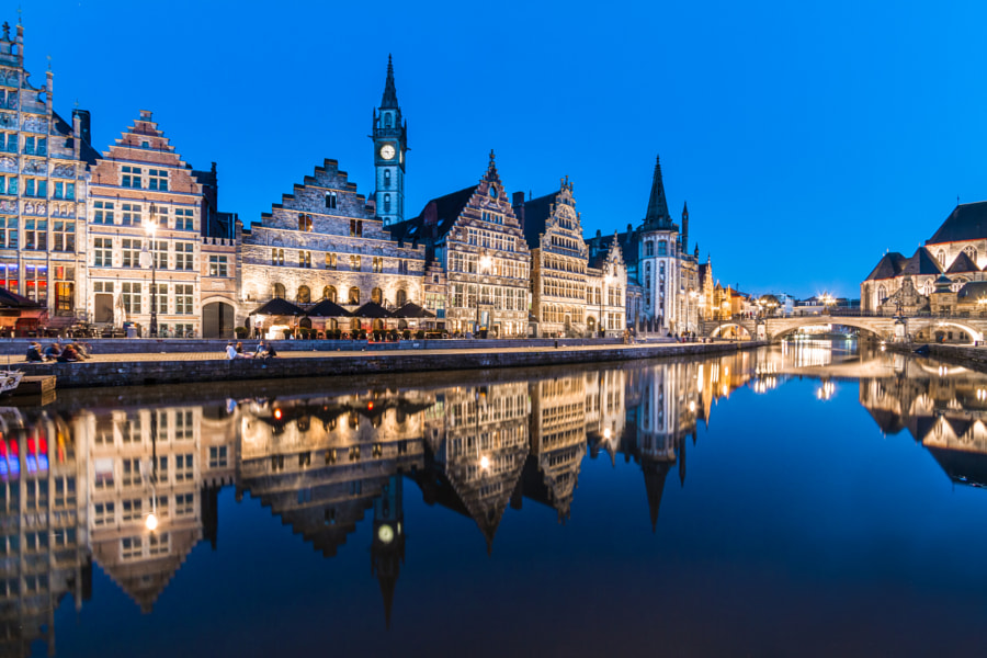 Leie river bank in Ghent, Belgium, Europe. by Matej Kastelic on 500px.com
