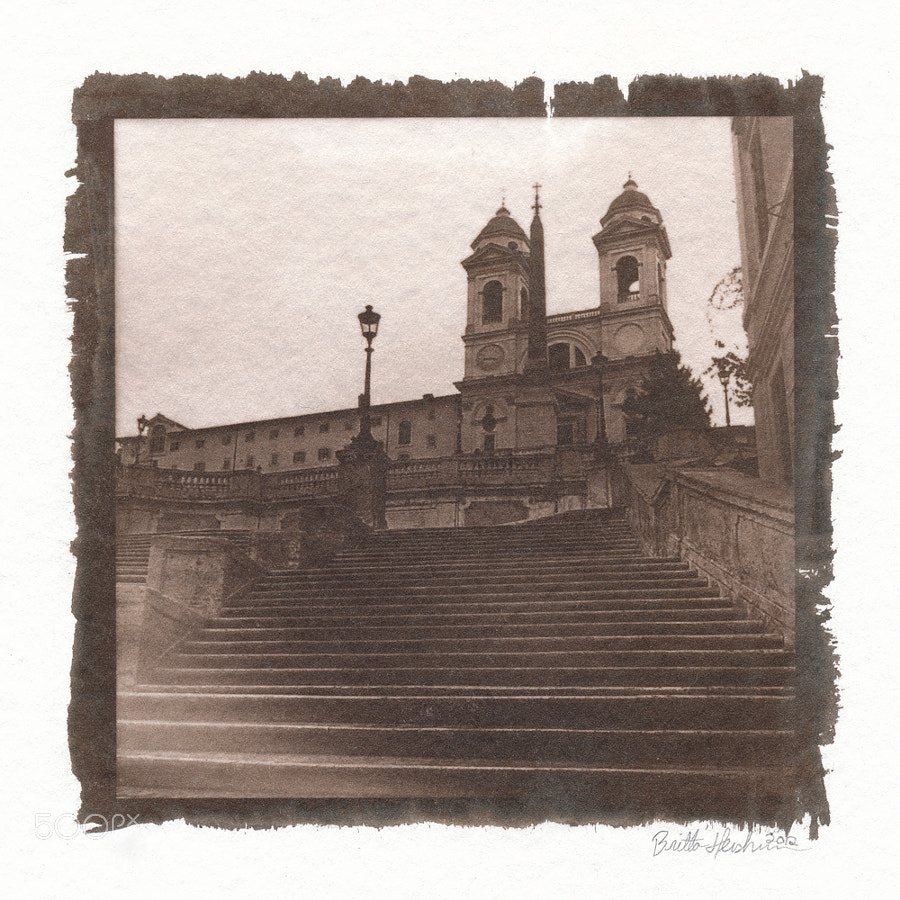 Van Dyke print on watercolor paper; Spanish Steps and church of the Trinità dei Monti, Rome