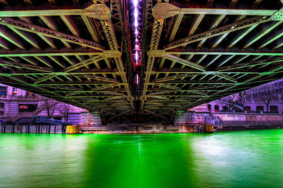 Green Chicago River under Michigan Avenue Bridge by Matt Maldre on 500px.com