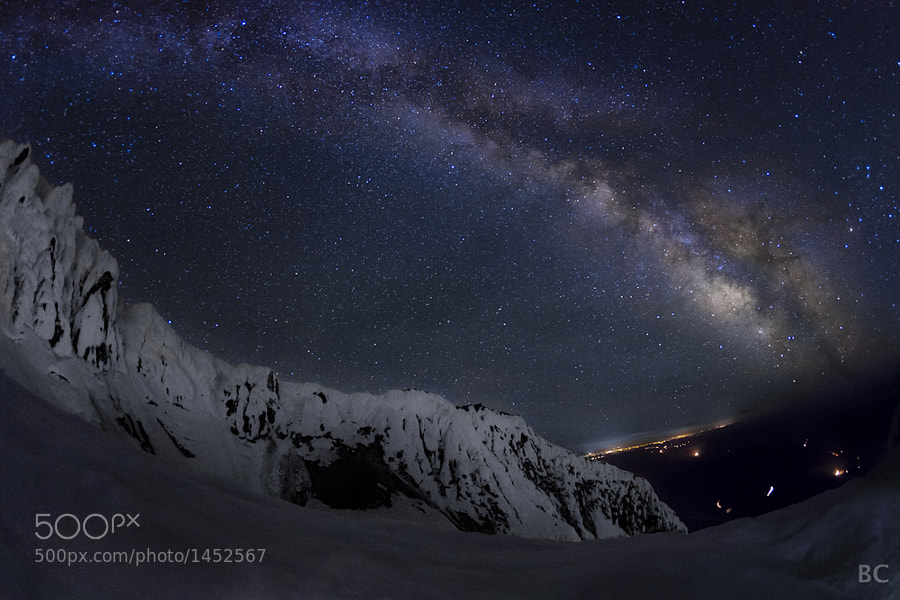 """Milky Way arcing over the Steel Cliffs of Mt Hood.   Wow, it's been so long since I've posted a new picture! Lately, I have put alot of time and attention on timelapse photography, so I've been short on single frame material to share.   This is actually a single frame from a timelapse that seems to have enough """"punch"""" to stand on its own. ...What do you think?"""