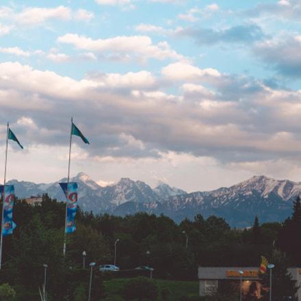 Alatau mountains from Almaty main square