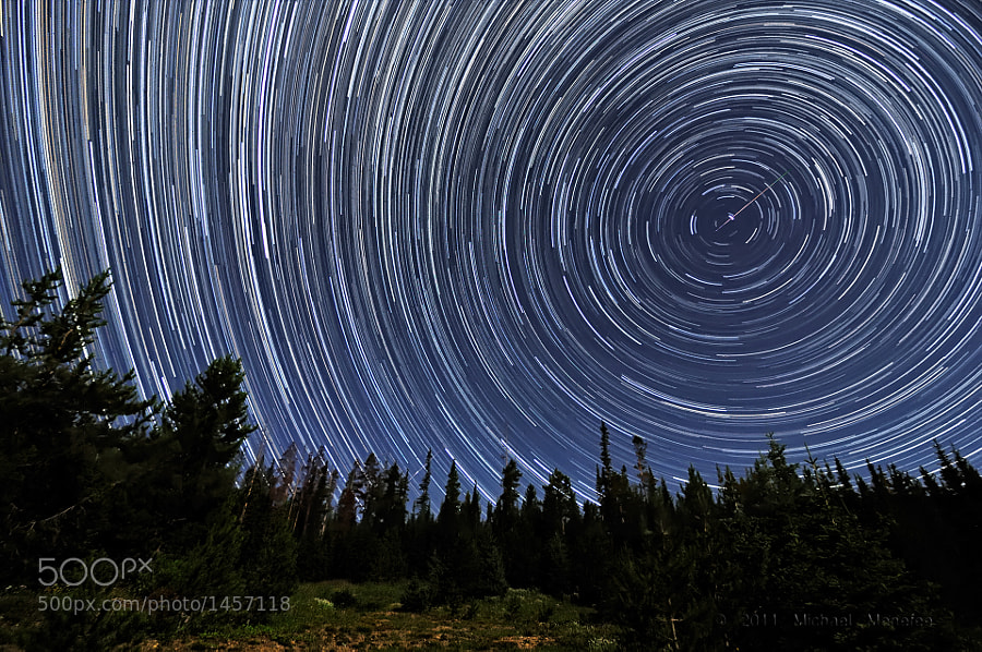 Photograph Perseid Meteors Penetrating Circumpolar Star Trails by Michael Menefee on 500px