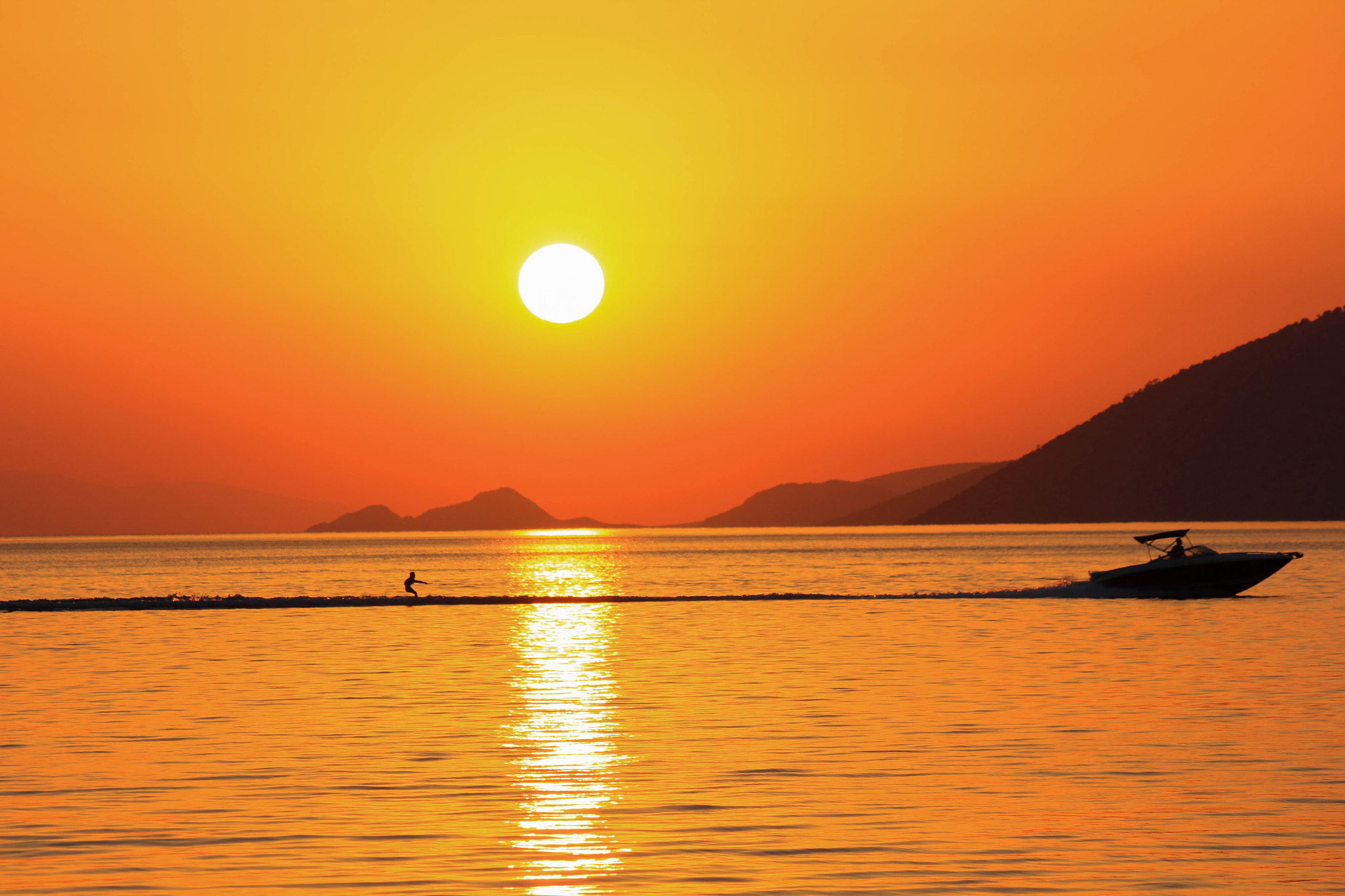 Photograph Water skiing at sunset by Vagelis Pikoulas on 500px
