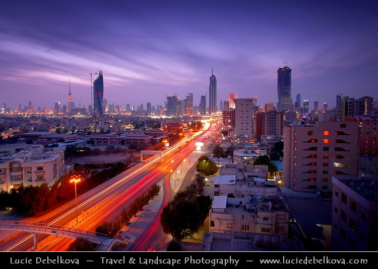 Photograph Kuwait - Welcome Home Sunset over Kuwait City by Lucie Debelkova -  Travel Photography - www.luciedebelkova.com on 500px