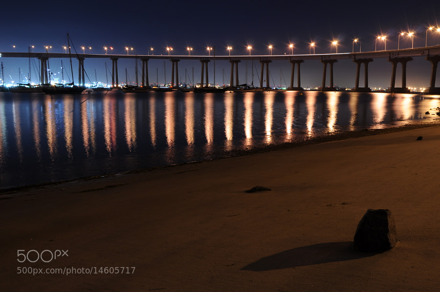 Strait from camera. This beach looked like no one had walked on it in days... it was a beautiful night in San Diego. This is a shot of the famous Coronado bridge. This was my favorite shot of the night!