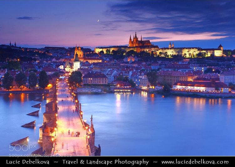 Photograph Czech Republic - Prague - Praha - View over the Vltava River, Charles Bridge & Prague Castle by Lucie Debelkova -  Travel Photography - www.luciedebelkova.com on 500px