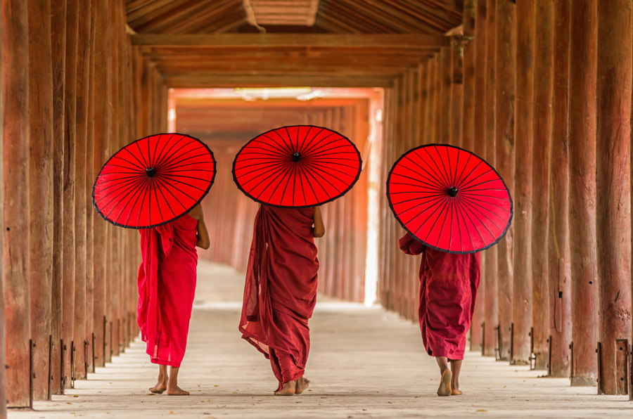 Back side of three Buddhist novice are walking in pagoda,myanmar by thananit suntiviriyanon on 500px.com