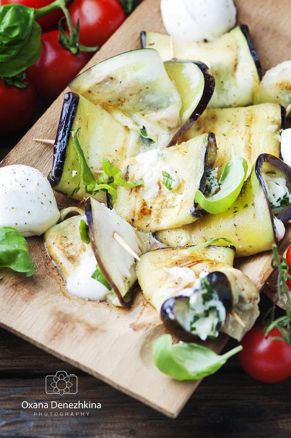 Vegetarian Eggplant rolls with mozzarella by Oxana Denezhkina on 500px.com