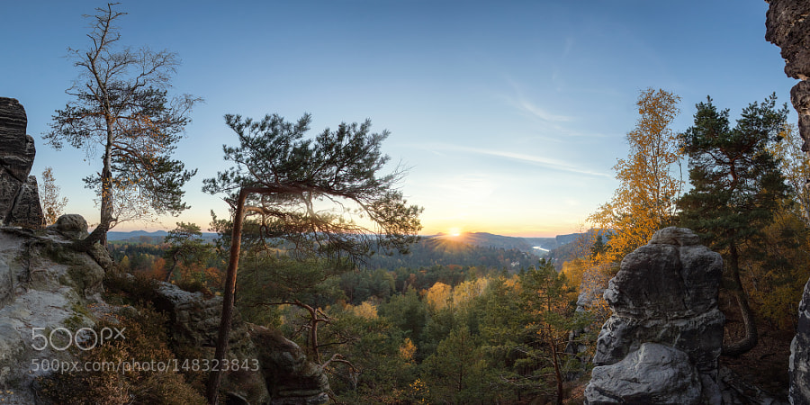Sunset above Elbe river valley