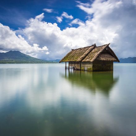 Drown House over the Lake of Kintamani Batur Mount