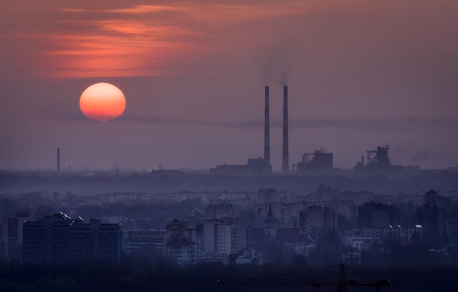 Sunrise over a smoke
