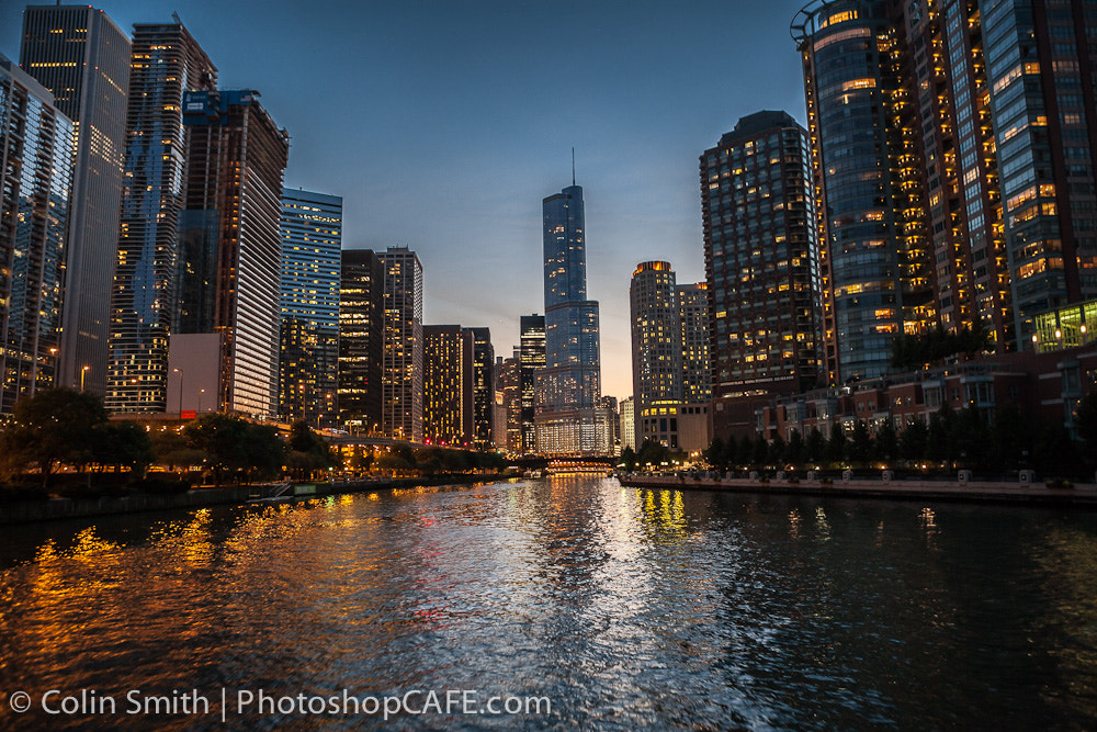 Photograph Chicago by river by night by Colin Smith on 500px