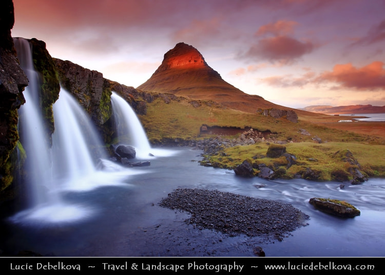 Photograph Iceland - Snæfellsnes - Kirkjufell & Kirkjufellsfoss waterfall in Grundarfjörður by Lucie Debelkova -  Travel Photography - www.luciedebelkova.com on 500px