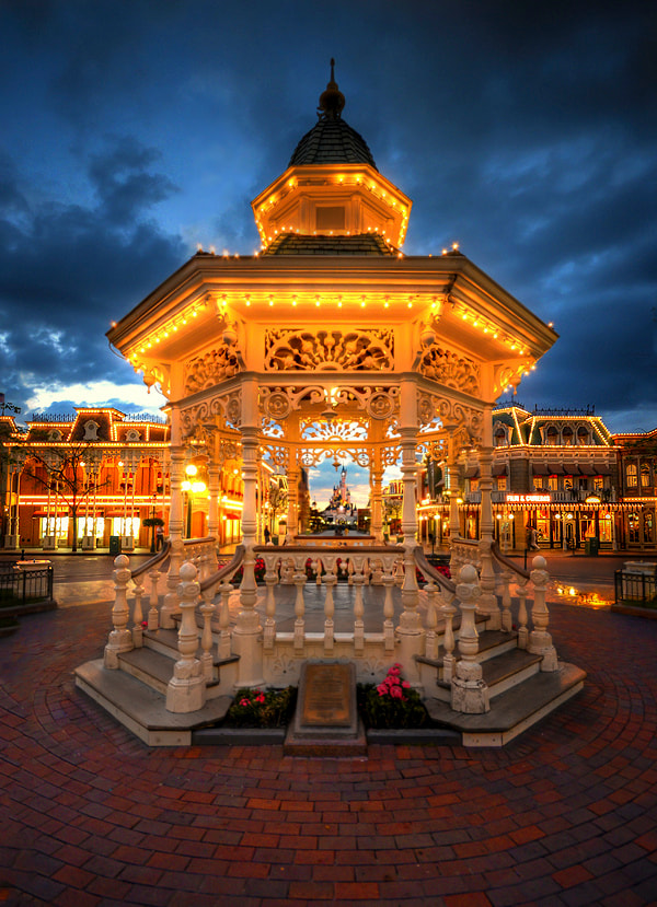 Photograph The Gazebo At Blue Hour, Disneyland Paris by William McIntosh on 500px