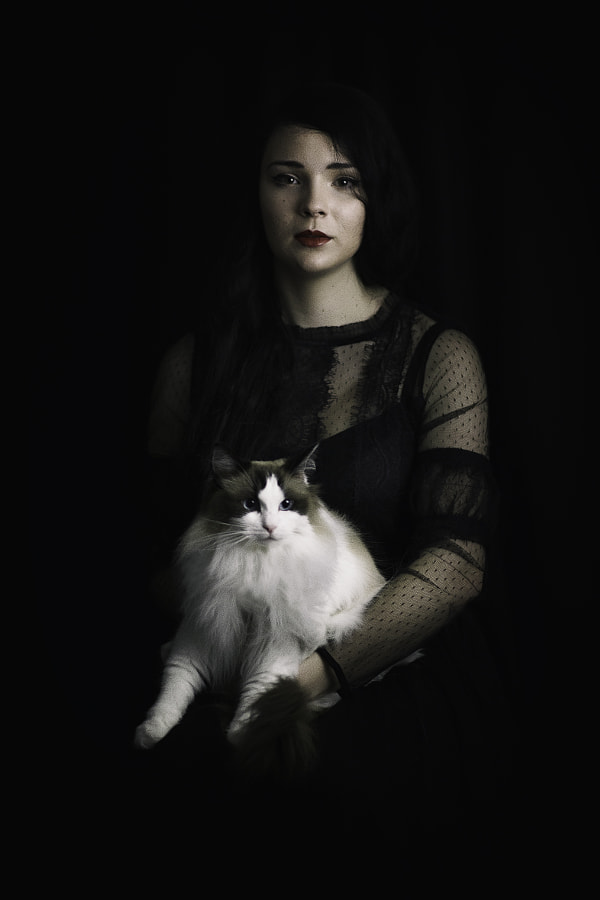 Girl with cat by Cathy Blampey on 500px.com