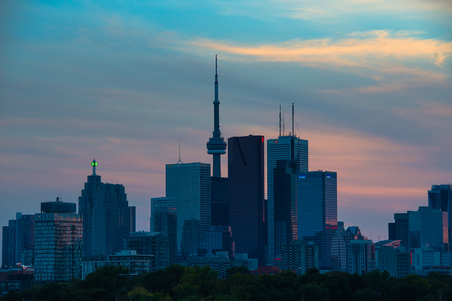 Sunset over Toronto skyline