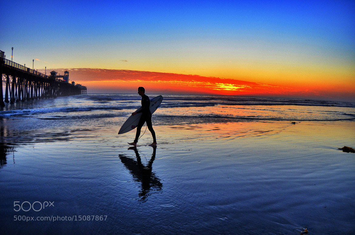 Photograph Surfer at Sunset at Oceanside Pier - October 1, 2012 by Rich Cruse on 500px