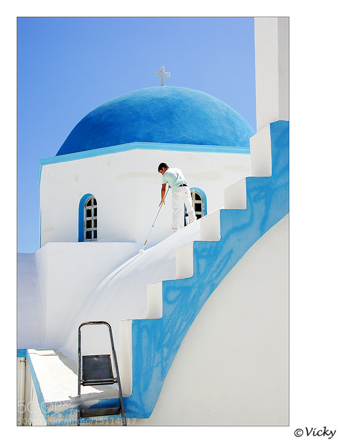 Photograph painting the church, Naxos Greece by Vicky Dens on 500px