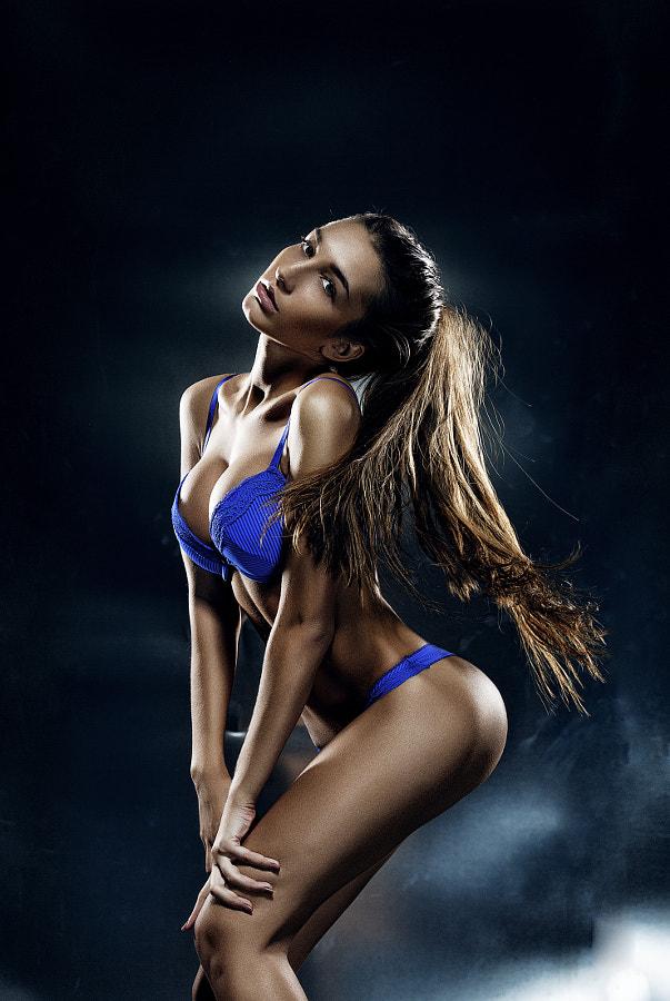 Beautyful model in blue lingerie