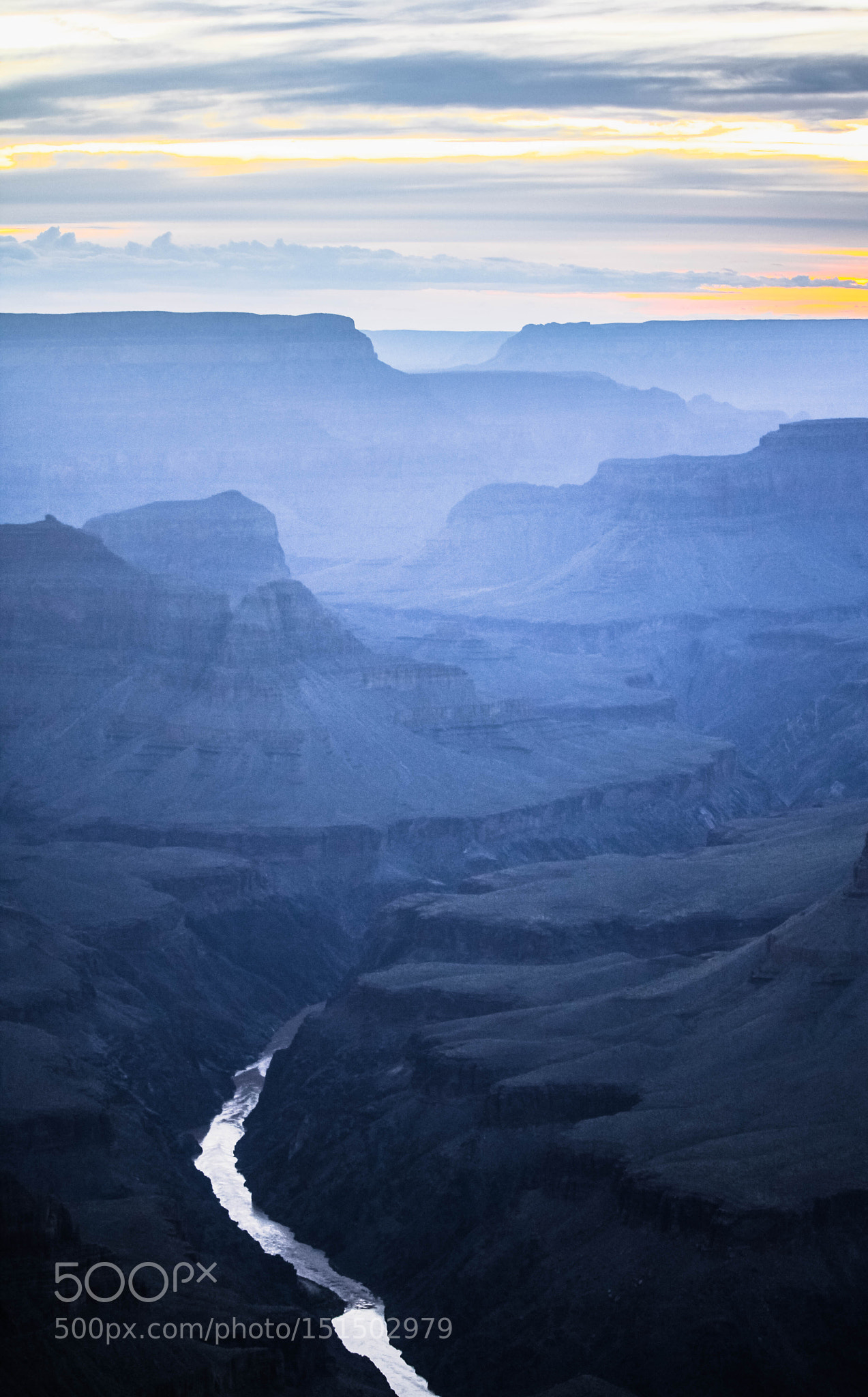 Colorado river silver lining the Grand Canyon