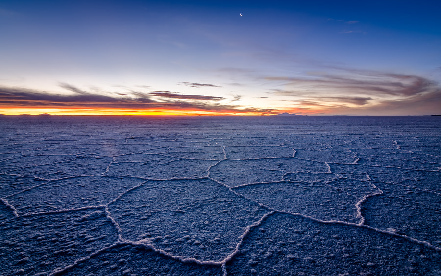 Sunset at Uyuni Salt Flat by Diego Ramírez Miranda on 500px.com