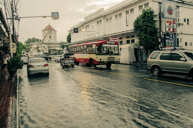 Photograph Afternoon rains on Phra Arthit road by Journey into Self on 500px