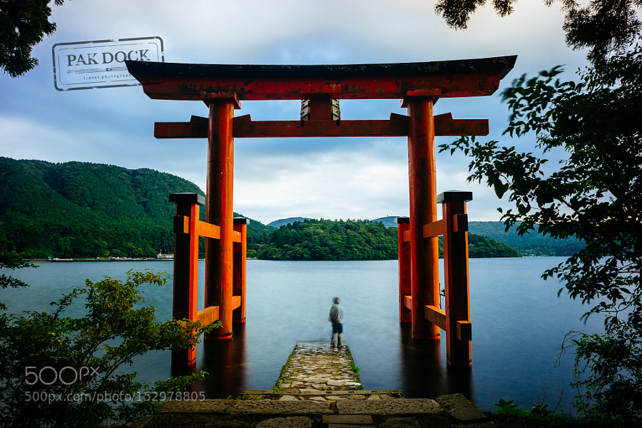 One man under the Torii - Hakone