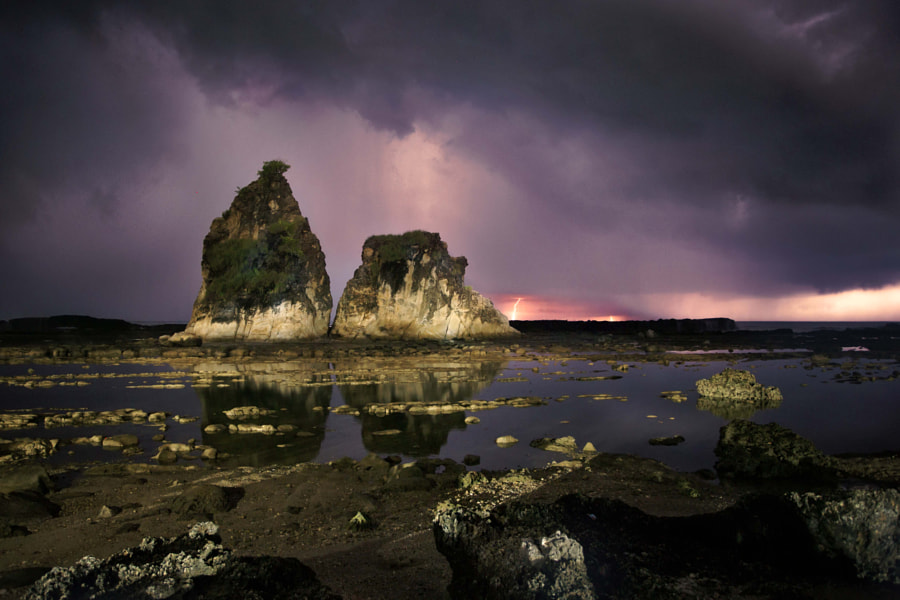 Sawarna beach with thunder and lighting by Ivan Lee on 500px.com