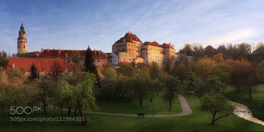 Český Krumlov Castle in sunset light