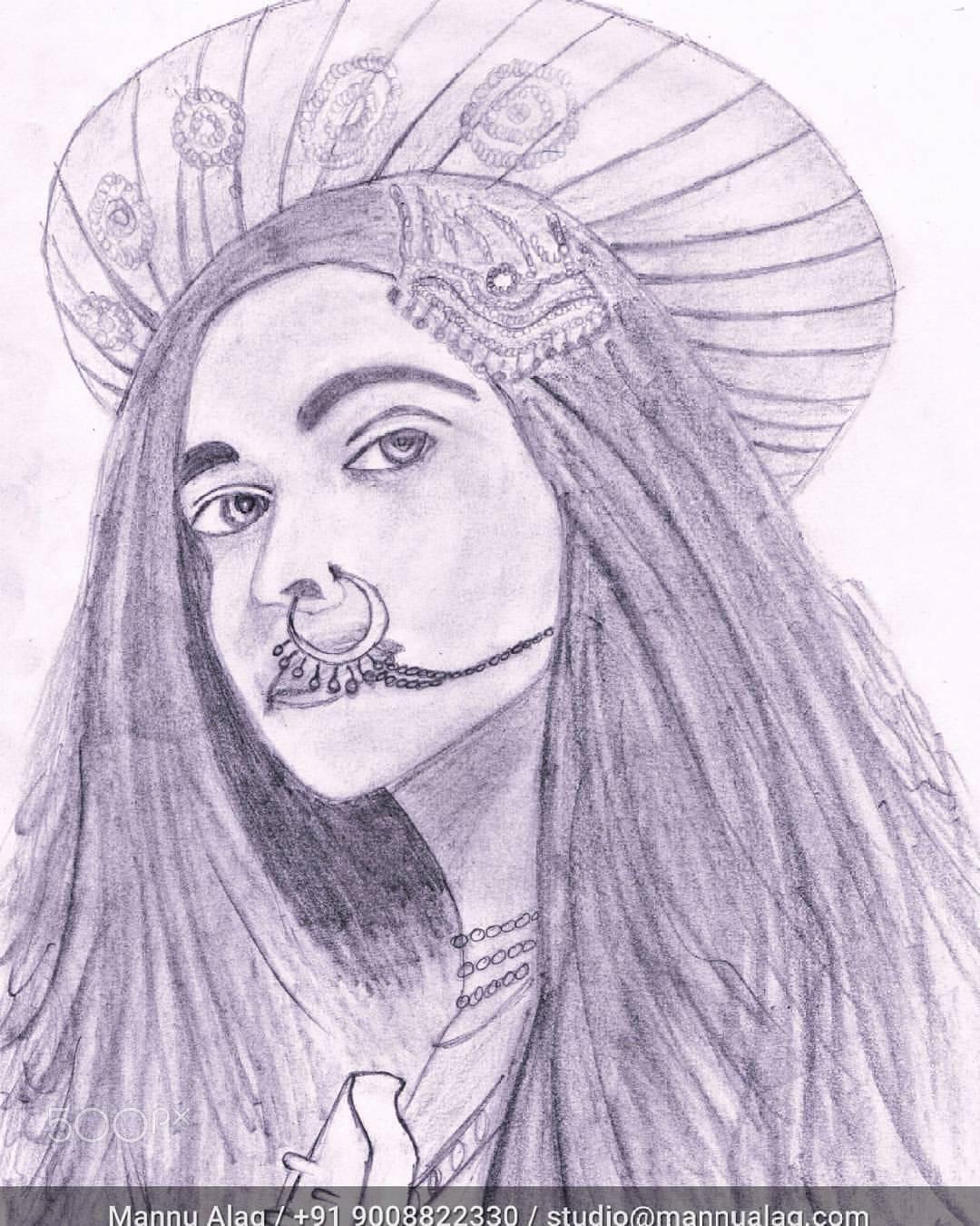 Deepika padukone as mastani pencil sketch by mannu alag photo