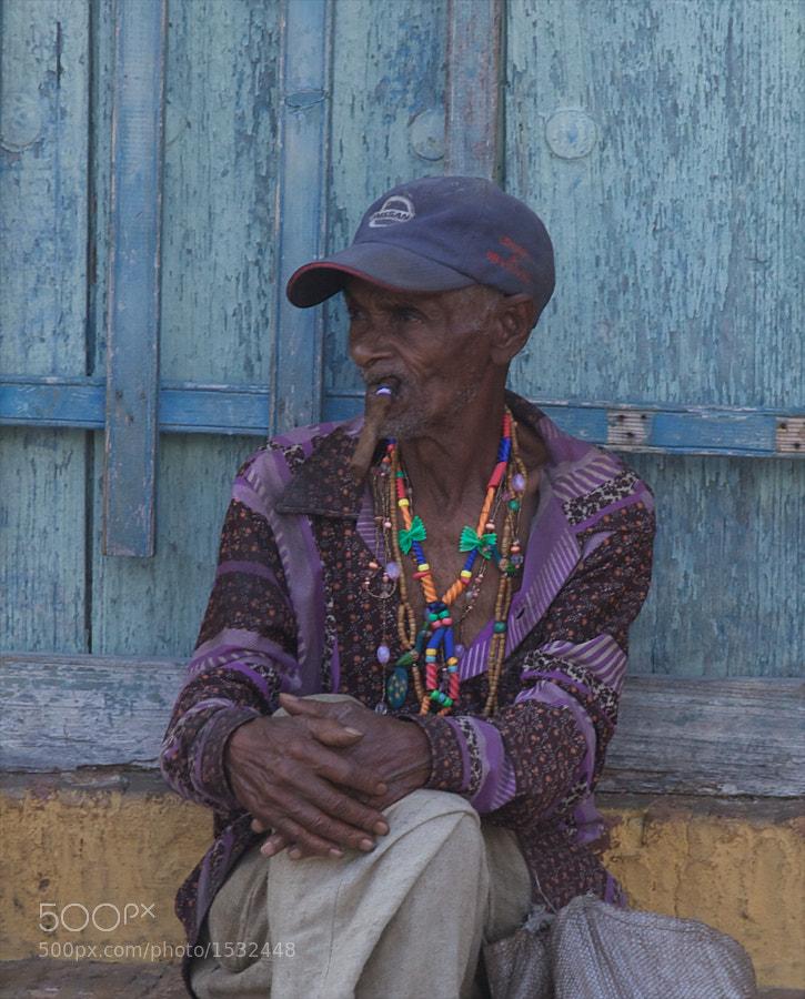 Smoking a cigar, Trinidad, Cuba