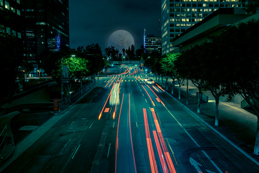 Downtown Los Angeles Traffic & Moon by James Martin on 500px.com