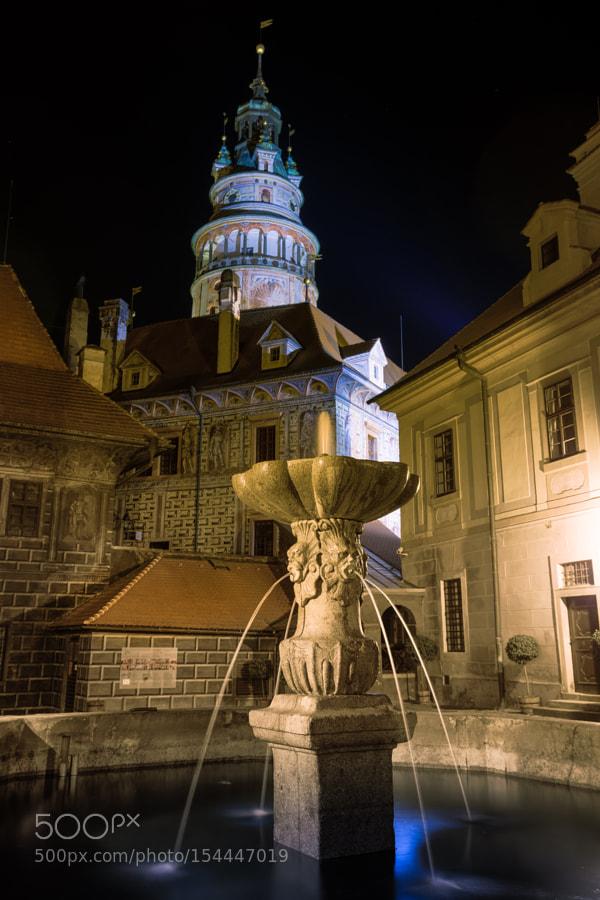 In the castle of Český Krumlov by night